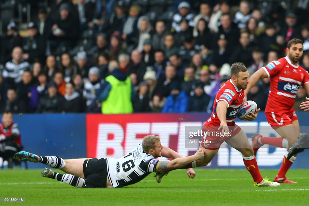 Jordan Abdull of Hull FC tries tackles Liam Salter of Hull KR during the Clive Sullivan Trophy, pre-season friendly match between Hull FC and Hull KR at KCOM Stadium on January 14, 2018 in Hull, England.