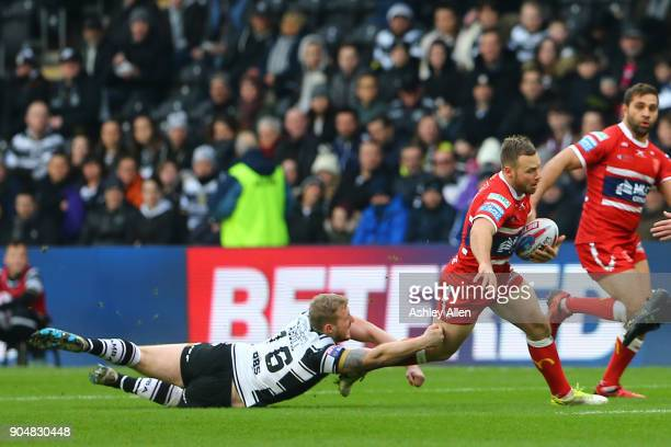 Jordan Abdull of Hull FC tries tackles Liam Salter of Hull KR during the Clive Sullivan Trophy preseason friendly match between Hull FC and Hull KR...