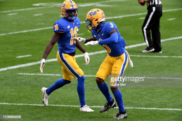 Jordan Addison of the Pittsburgh Panthers celebrates after a 75yard touchdown reception in the first quarter during the game against the North...