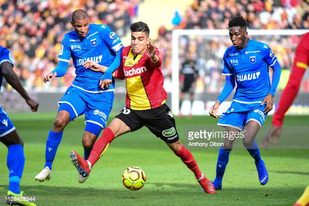 Jordan Adeoti of Auxerre and Achraf Bencharki of Lens during the Ligue 2 match between RC Lens and AJ Auxerre at Stade BollaertDelelis on March 9...
