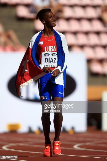 Jordan ADiaz of Cuba celebrates after winning gold in the final of the men's triple jump on day five of The IAAF World U20 Championships on July 10...