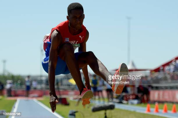 Jordan Alejandro Diaz Fortuni of Cuba sets a new Youth Olympic record and gets gold in Men's Triple Jump during day 10 of Buenos Aires 2018 Youth...