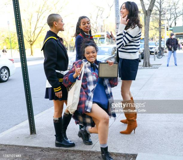 Jordan Alexander, Whitney Peak, Savannah Smith and Zion Moreno are seen at the film set of the 'Gossip Girl' TV Series on April 05, 2021 in New York...