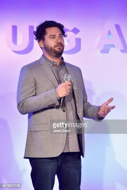 Jordan Allen speaks on stage during the POPSUGAR 2017 Digital NewFront at Industria Studios on May 3 2017 in New York City