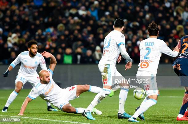 Jordan Amavi and Aymen Abdennour and Adil Rami and Hiroki Sakai of Marseille during the Ligue 1 match between Montpellier Herault SC and Olympique...