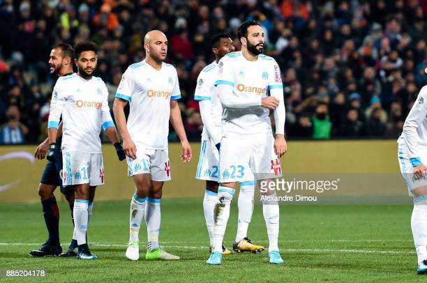 Jordan Amavi and Aymen Abdenour and Adil Rami and Hiroki Sakai of Marseille during the Ligue 1 match between Montpellier Herault SC and Olympique...