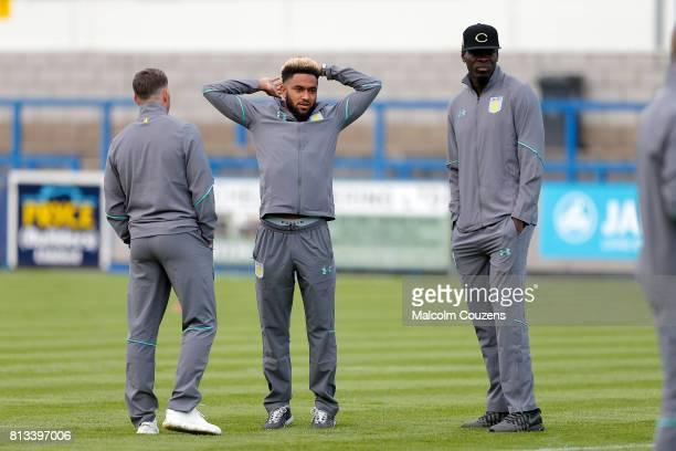 Jordan Amavi and Christopher Samba of Aston Villa look on during the PreSeason Friendly between AFC Telford United and Aston Villa at New Bucks Head...