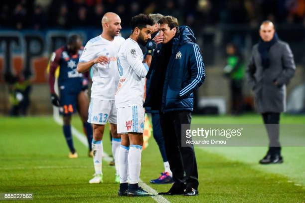 Jordan Amavi and Rudi Garcia Coach of Marseille during the Ligue 1 match between Montpellier Herault SC and Olympique Marseille at Stade de la Mosson...