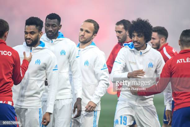 Jordan Amavi Andre Zambo Anguissa Valere Germain and Luiz Gustavo of Marseille during the Europa League Final match between Marseille and Atletico...