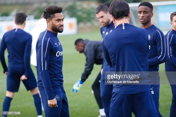 Jordan Amavi attends the Olympique de Marseille training session at Centre RobertLouis Dreyfus at Centre Robert LouisDreyfus on December 21 2018 in...