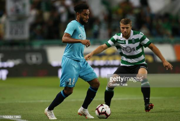 Jordan Amavi from Olympique de Marseille with Stefan Ristovski from Sporting CP in action during the PreSeason Friendly match between Sporting CP and...