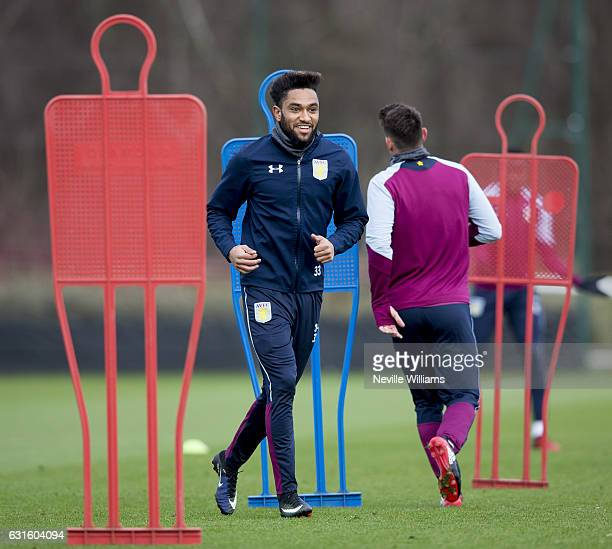 Jordan Amavi of Aston Villa during a training session at the club's training ground at Bodymoor Heath on January 13 2017 in Birmingham England
