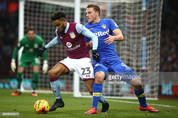 Jordan Amavi of Aston Villa holds off Chris Wood of Leeds United during the Sky Bet Championship match between Aston Villa and Leeds United at Villa...
