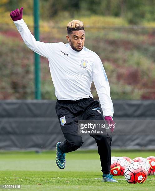 Jordan Amavi of Aston Villa in action during a Aston Villa training session at the club's training ground at Bodymoor Heath on October 16 2015 in...