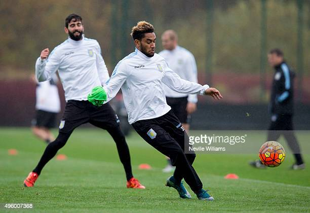 Jordan Amavi of Aston Villa in action during a Aston Villa training session at the club's training ground at Bodymoor Heath on November 06 2015 in...