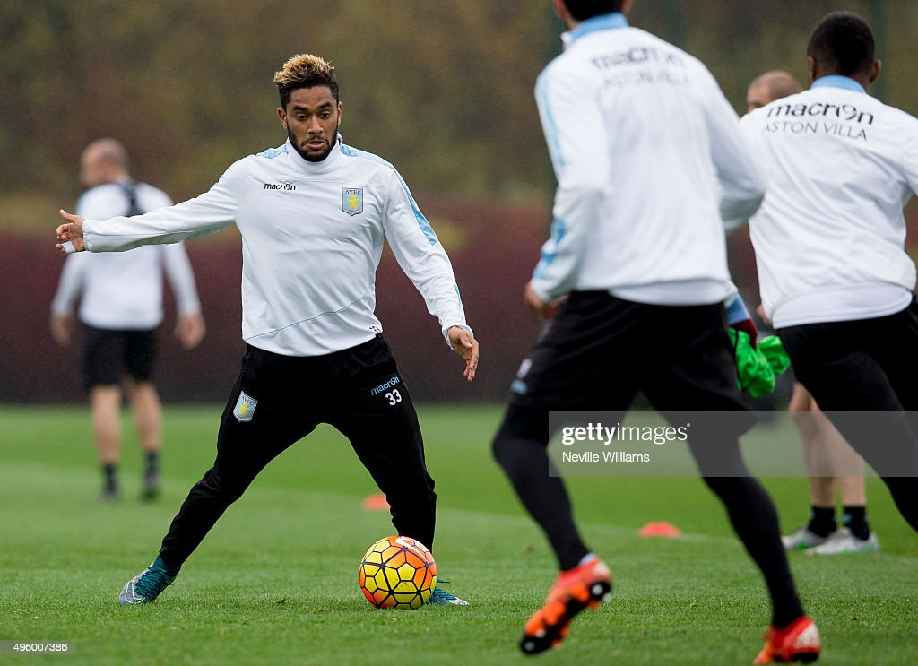 Jordan Amavi of Aston Villa in action during a Aston Villa training session at the club's training ground at Bodymoor Heath on November 06, 2015 in Birmingham, England.