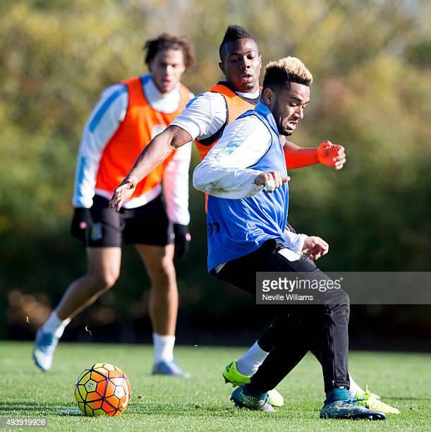 Jordan Amavi of Aston Villa in action with Adam Traore during a Aston Villa training session at the club's training ground at Bodymoor Heath on...