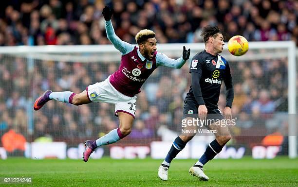 Jordan Amavi of Aston Villa is challenged by Ben Marshall of Blackburn Rovers during the Sky Bet Championship match between Aston Villa and Blackburn...