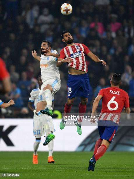 Jordan Amavi of Atletico Madrid and Diego Costa of Atletico Madrid compete for the ball during the UEFA Europa League Final between Olympique de...