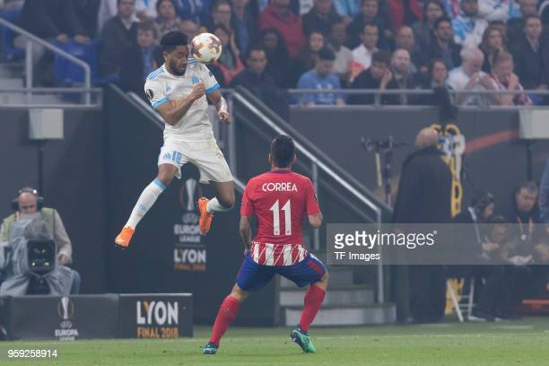 Jordan Amavi of Marseille and Angel Correa of Atletico Madrid battle for the ball during the UEFA Europa League Final between Olympique de Marseille...