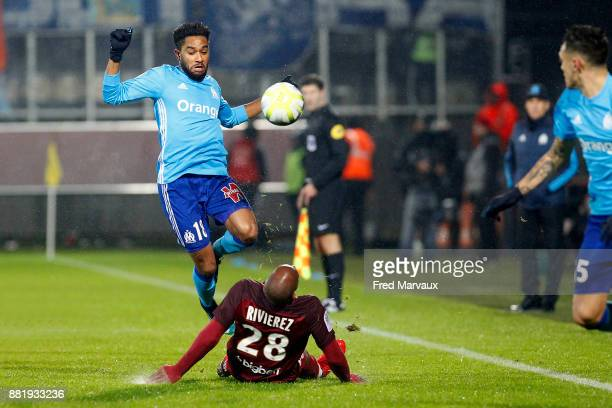 Jordan Amavi of Marseille and Emmanuel Riviere of Metz during the Ligue 1 match between Metz and Olympique Marseille at Stade Saint Symphorien on...
