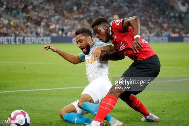 Jordan Amavi of Marseille and Felix Eboa Eboa of Guingamp during the French Ligue 1 match between Marseille and Guingamp at Stade Velodrome on...
