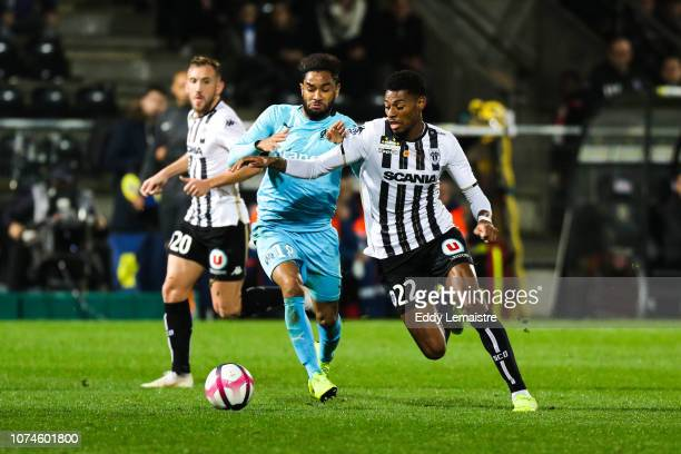 Jordan Amavi of Marseille and Jeff Reine Adelaide of Angers during the Ligue 1 match between Angers and Marseille at Stade Jean Bouin on December 22...