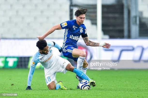 Jordan Amavi of Marseille and Jonas Martin of Strasbourg during the French League Cup match between Marseille and Strasbourg at Stade Velodrome on...