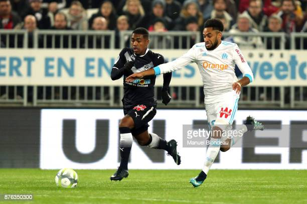Jordan Amavi of Marseille and Malcom of Bordeaux during the Ligue 1 match between FC Girondins de Bordeaux and Olympique Marseille at Stade Matmut...