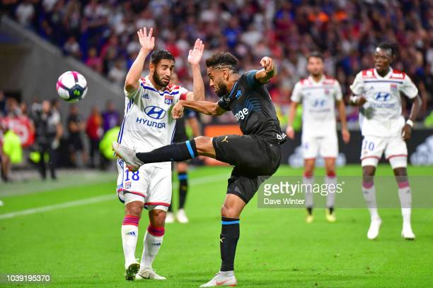 Jordan Amavi of Marseille and Nabil Fekir of Lyon during the Ligue 1 match between Lyon and Marseille at the Groupama Stadium on September 23 2018 in...