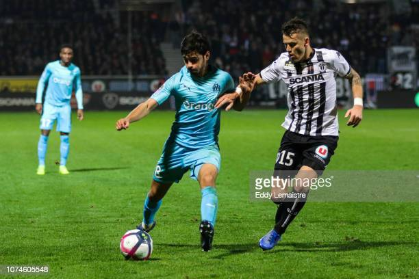 Jordan Amavi of Marseille and Pierrick Capelle of Angers during the Ligue 1 match between Angers and Marseille at Stade Jean Bouin on December 22...