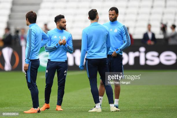 Jordan Amavi of Marseille and Rolando of Marseille looks on during an Olympique de Marseille training session ahead of the the UEFA Europa League...