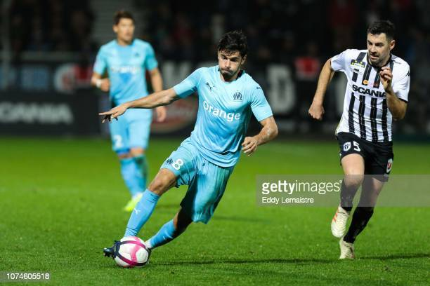Jordan Amavi of Marseille and Thomas Mangani of Angers during the Ligue 1 match between Angers and Marseille at Stade Jean Bouin on December 22 2018...