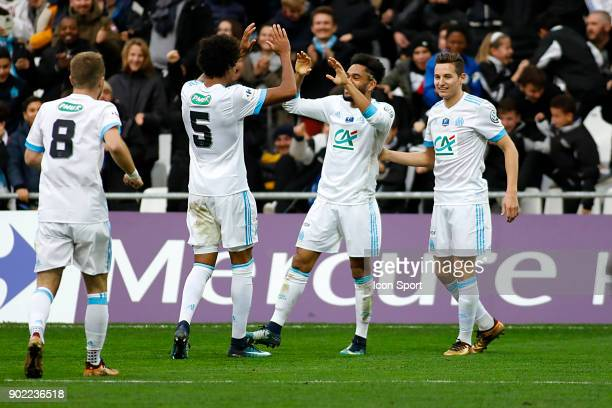 Jordan Amavi of Marseille celebrates scoring during the french National Cup match between Marseille and Valenciennes on January 7 2018 in Marseille...