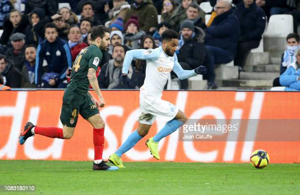 Jordan Amavi of Marseille Cesc Fabregas of Monaco during the french Ligue 1 match between Olympique de Marseille and AS Monaco at Stade Velodrome on...