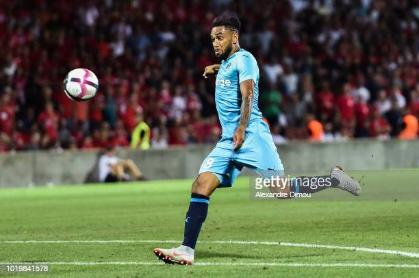 Jordan Amavi of Marseille during the French Ligue 1 match between Nimes and Marseille at Stade des Costieres on August 19 2018 in Nimes France