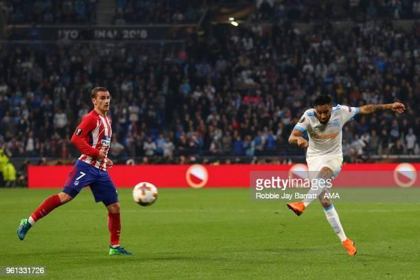 Jordan Amavi of Marseille has a shot at goal during the UEFA Europa League Final between Olympique de Marseille and Club Atletico de Madrid at Stade...