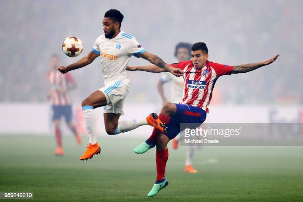 Jordan Amavi of Marseille holds off pressure from Angel Correa of Atletico Madrid during the UEFA Europa League Final between Olympique de Marseille...