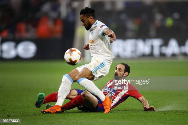 Jordan Amavi of Marseille is tackled by Diego Godin of Atletico Madrid during the UEFA Europa League Final between Olympique de Marseille and Club...
