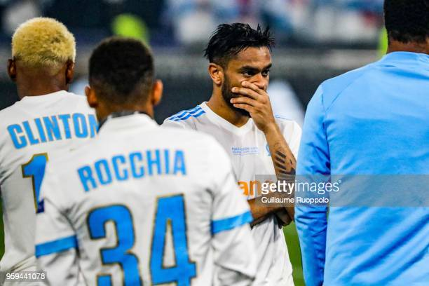Jordan Amavi of Marseille looks dejected after the Europa League Final match between Marseille and Atletico Madrid at Groupama Stadium on May 16 2018...