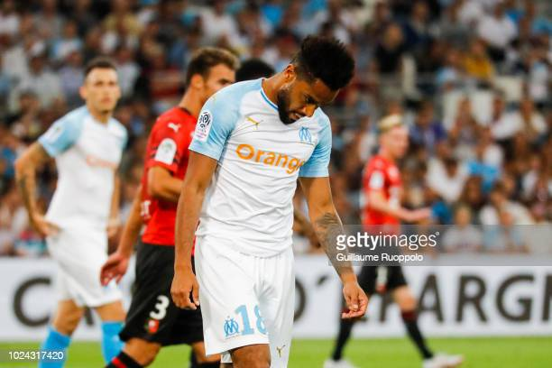 Jordan Amavi of Marseille looks dejected during Ligue 1 match between Marseille and Rennes on August 26 2018 in Marseille France