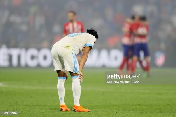 Jordan Amavi of Marseille looks dejected during the UEFA Europa League Final between Olympique de Marseille and Club Atletico de Madrid at Stade de...