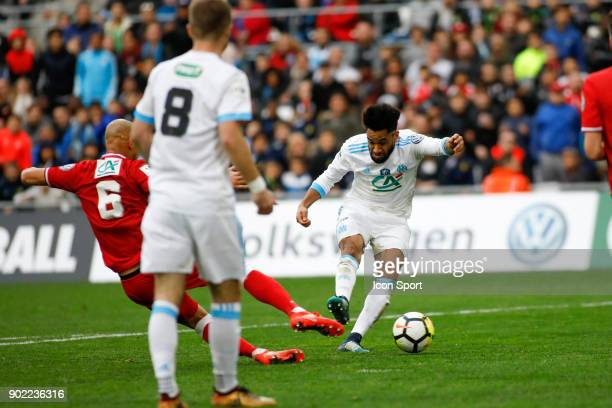 Jordan Amavi of Marseille scores during the french National Cup match between Marseille and Valenciennes on January 7 2018 in Marseille France
