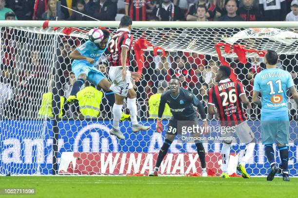 Jordan Amavi of Olympique de Marseille jumps for the ball during the Ligue 1 match between OGC Nice and Olympique de Marseille at Allianz Riviera...
