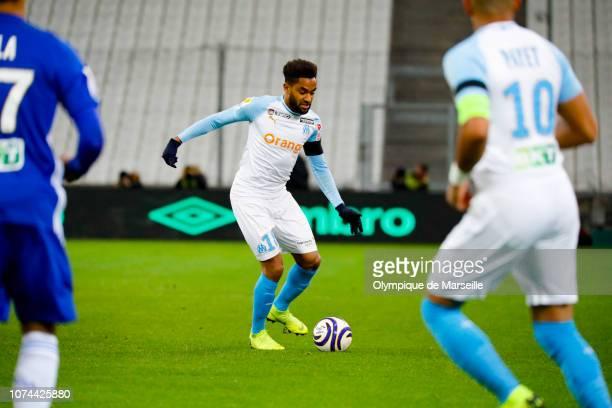 Jordan Amavi of Olympique de Marseille runs with the ball during Olympique de Marseille v RC Strasbourg Coupe de la Ligue at Stade Velodrome on...