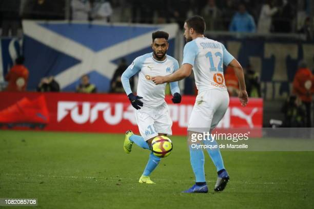 Jordan Amavi of Olympique de Marseille runs with the ball during the Ligue 1 match between Olympique de Marseille and Monaco at Stade Velodrome on...