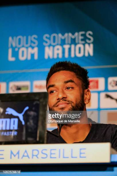 Jordan Amavi of Olympique de Marseille speaks to the media during a press conference on October 19 2018 in Marseille France