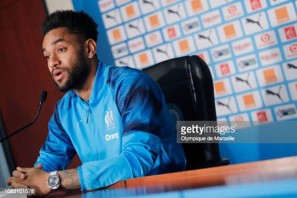 Jordan Amavi of Olympique de Marseille speaks to the media during a press conference at Centre Robert LouisDreyfus on January 15 2019 in Marseille...