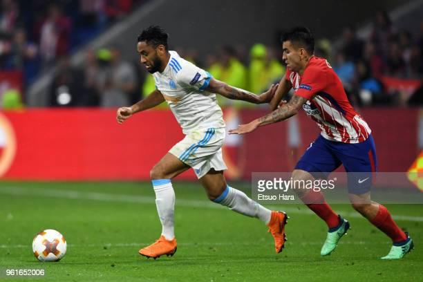 Jordan Amavi of Olympique Marseill controls the ball under pressure of Angel Correa of Atletico Madrid during the UEFA Europa League Final between...