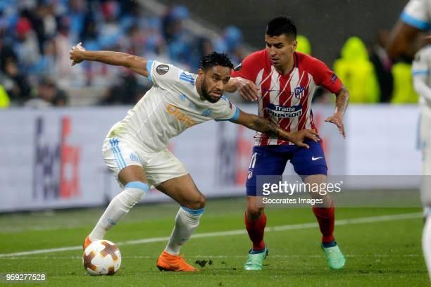 Jordan Amavi of Olympique Marseille Angel Correa of Atletico Madrid during the UEFA Europa League match between Olympique Marseille v Atletico Madrid...